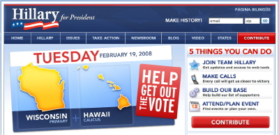 Site Web d'Hillary Clinton