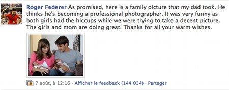 Profil Facebook de Roger Federer avec la photo de sa famille