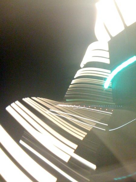 Jeu de lumières dans le tunnel du Gothard