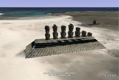 Moai dans Google Earth