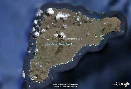Vue aérienne de l'Ile de Pâques